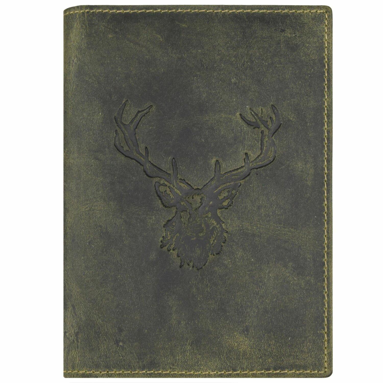 Greenburry Vintage Porte-cartes pour pi/èce didentit/é motif cerf cuir 12 cm